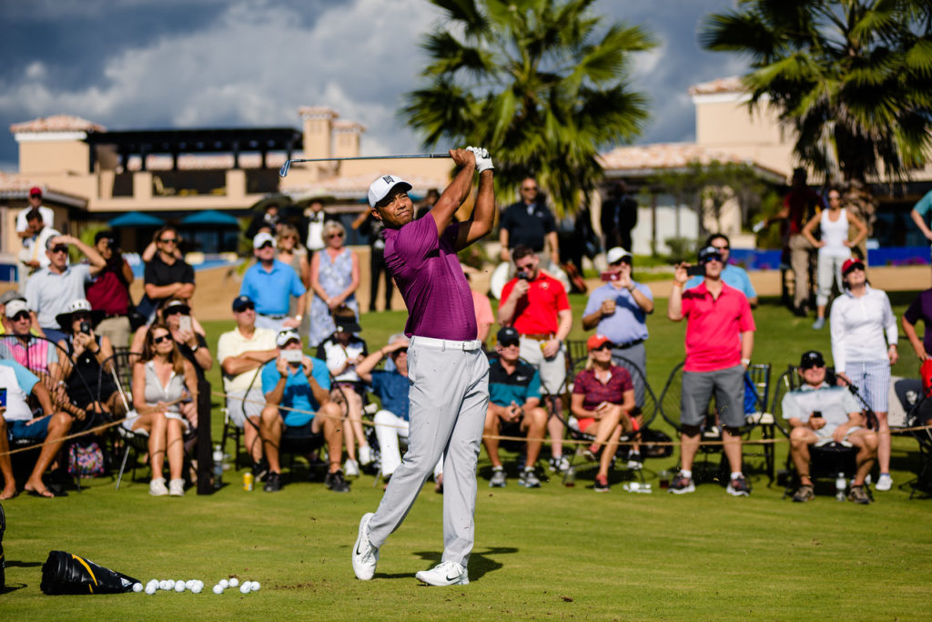 Tiger Woods gives a demonstration at Diamante's The Oasis Short Course designed by TGR Design
